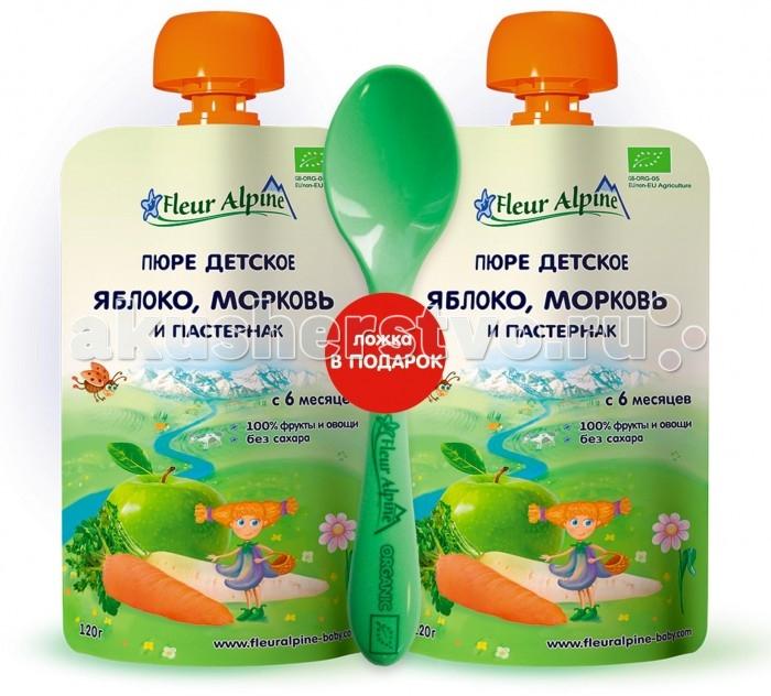 Пюре Fleur Alpine Набор пюре Органик яблоко-морковь набор bebe confort из 2 нагрудничков