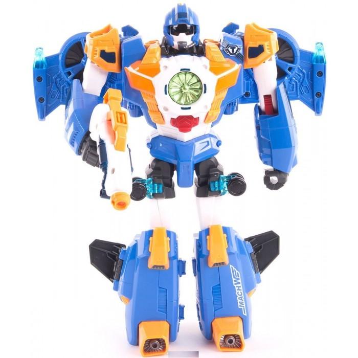 Tobot Робот-трансформер Тобот МЭХ WРобот-трансформер Тобот МЭХ WTobot Робот-трансформер Тобот МЭХ W создан по мотивам мультфильма Тоботы и в точности воспроизводит одного из героев – Натана, смелого военного истребителя. Игрушка может трансформироваться в двух разных режимах, двигать ногами и руками, что обязательно привлечет внимание каждого ребенка.  Фигурка робота синего цвета устойчива к механическим воздействиям. На груди у него есть специальный урагановый спин. Все элементы отлично детализованы. Натан устойчиво стоит на ровной поверхности. Благодаря прочной и понятной конструкции его легко переделать в истребитель со скоростной капсулой.  Робот может двигать руками и ногами, поворачиваться. Очки можно опускать и поднимать. После простой трансформации герой превращается в небольшой синий истребитель. В него можно вставить капсулу. Пушка легко устанавливается в пазы на верхней части самолета или на крылья. При нажатии на кнопку быстро вылетает ледяной снаряд.  Самолет можно превратить в Тобота только с помощью специального ключа, который спрятан в пушке. Ключ вставляется в верхний паз и поворачивается, отщелкивая скоростную капсулу. Пушка прикрепляется на спину Натана или к его руке.  В комплект входят: трансформер размерами 36.5 х 11 х 33 см ледяная пушка – главное оружие героя два ледяных снаряда скоростная капсула ключ Токей в оружии<br>