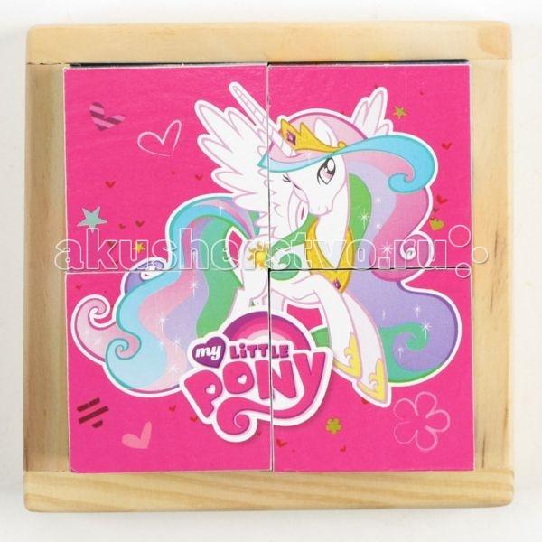 Деревянные игрушки Играем вместе Кубики My Little Pony 4 шт.