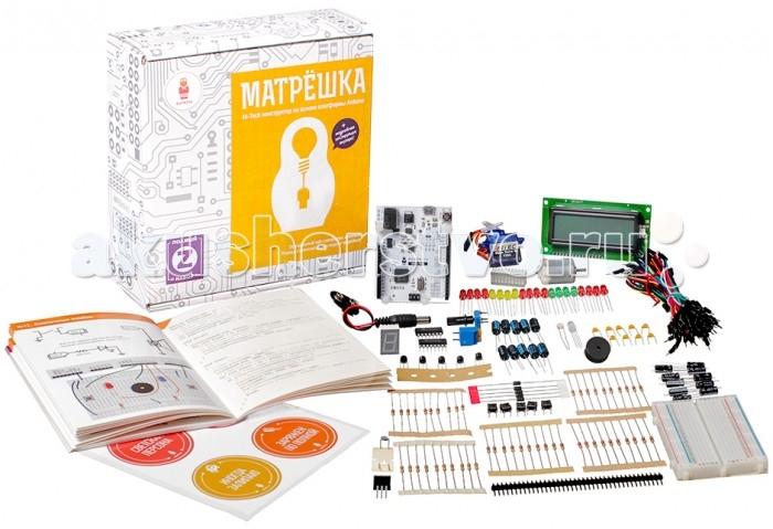 Конструктор Амперка Матрешка Z (Iskra)Конструкторы<br>Амперка Конструктор Матрешка Z (Iskra) подойдёт для тех кто хочет начать работать с Arduino, но у него нет опыта и нет базовых радиодеталей и приспособлений. В нём вы найдёте нашу версию популярной Arduino Leonardo, набор радиодеталей, провода, макетную плату, а главное — красочную лаконичную обучающую брошюру, которая с нуля научит вас делать собственные электронные устройства.  Мозг набора — Iskra Neo, миниатюрный компьютер, который программируется на C++. Простые программы — скетчи — управляют устройствами, собранными из радиодеталей.  В коробке с набором вы найдёте светодиоды, конденсаторы, резисторы, кнопки, микрочипы, LCD-экран, микромотор и сервопривод. Они соединяются в схемы на макетной плате и подключаются к контроллеру. Комплектация содержит всё необходимое, чтобы собрать все 20 устройств.   Arduino — это открытая платформа, которая позволяет собирать всевозможные электронные устройства. На базе неё и построена Iskra Neo. У нашей платы доступно больше пинов, разведён дополнительный последовательный порт и её можно подключить к компьютеру в режиме эмуляции клавиатуры. На плате вы найдёте все традиционные для Arduino контактные колодки. Они расположены в соответствии со стандартной распиновкой Arduino R3, поэтому на плату могут быть установлены платы расширения для Arduino.  Как собирать устройства? Все устройства собираются из настоящих радиодеталей, но без возни с пайкой. Детали вставляются в гнёзда макетной платы и соединяются с управляющей платой проводами.  Пройти набор по силам инженерам от 14 лет. Хотя, пользуясь старшими коллегами или особо продвинутым интеллектом, комплекты могут использовать и дети от 10 лет.  Постепенно вы разберётесь со всеми радиодеталями, а сложность и функциональность собираемых устройств увеличатся: Маячок Маячок с нарастающей яркостью Светильник с управляемой яркостью Терменвокс Ночной светильник Пульсар Бегущий огонёк Мерзкое пианино Миксер Кнопочный переключатель Свети