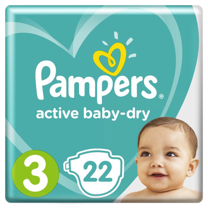 Подгузники Pampers Подгузники Active Baby-Dry Midi р.3 (5-9 кг) 22 шт подгузники детские pampers подгузники pampers active baby dry 5 9 кг 3 размер 54 шт