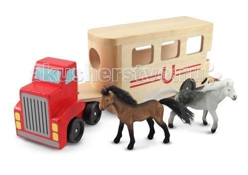 Деревянная игрушка Melissa &amp; Doug Машинка для перевозки лошадейМашинка для перевозки лошадейДеревянная игрушка Melissa & Doug Машинка для перевозки лошадей - увлекательная игрушка для маленького ребенка.  Включает 2х лошадей и трейлер для их перевозки. Прицепной фургон машинки имеет откидную дверцу, чтобы можно было поместить в него лошадей.   Достаточно загрузить лошадей в машину и определиться, куда ты едешь на этот раз.<br>