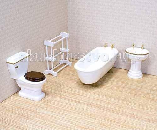 Melissa &amp; Doug Мебель Ванная (для викторианского дома)Мебель Ванная (для викторианского дома)Melissa & Doug Мебель Ванная (для викторианского дома) - роскошный набор мебели для ванной комнаты!    В наборе:  ванная унитаз умывальник сушилка для полотенец.  У всех предметов, которые сделаны в ручную качественная и подробная деталировка. Если присмотреться, то на ванной и умывальнике, можно рассмотреть кран для воды.  Детально проработанная деревянная мебель ручной работы идеально подходит для всех кукольных домов в масштабе 1:12.<br>