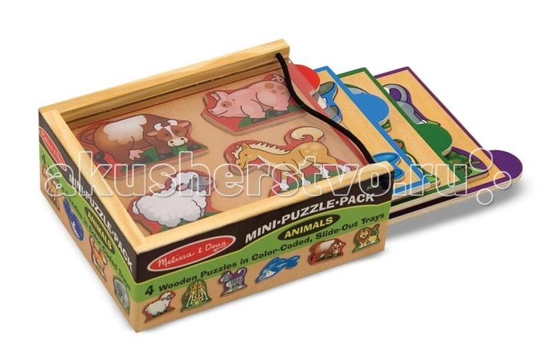 Деревянные игрушки Melissa & Doug Мини-пазл в упаковке Животные