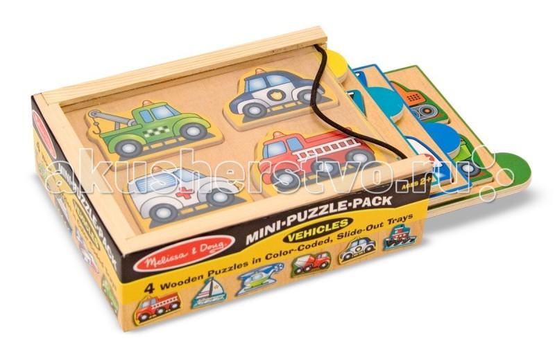 деревянные игрушки анданте кубики пазл транспорт Деревянные игрушки Melissa & Doug Мини-пазл в упаковке Транспорт