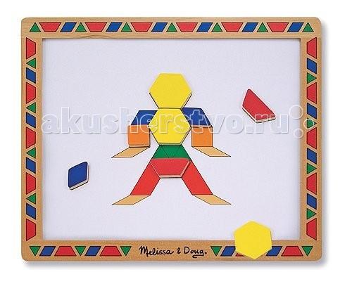 Деревянная игрушка Melissa &amp; Doug Набор магнитных деталей Придумай свой рисунокНабор магнитных деталей Придумай свой рисунокДеревянная игрушка Melissa & Doug Набор магнитных деталей Придумай свой рисунок - с помощью этой увлекательной игры, Ваш малыш будет занят, ведь он включает 120 цветных геометрических фигур на магнитах, магнитную доску и 12 магнитных трафаретов.   Малыши помладше с радостью возьмутся подобрать нужные фигуры для трафаретов, а которые постарше смогут создавать свои мозаичные картинки прямо на магнитной доске.<br>