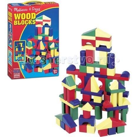 Деревянные игрушки Melissa & Doug Набор цветных блоков 100 деталей