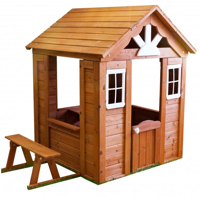 Можга (Красная Звезда) Детский домик Можга СолнечныйИгровые домики<br>Можга (Красная Звезда) Детский домик Можга Солнечный это чудесный подарок ребенку!   Сколько интересных игр этот домик из кедра предоставит своим маленьким хозяевам! Игровой домик так похож на настоящий дом  Детский игровой домик – это замечательное место для игры в кафе или магазин, ведь здесь озорники смогут не только приготовить угощения и напитки, но и предложить их посетителям, которые удобно устроятся на лавочке у широкого подоконника.   Симпатичный внешний вид этого игрового домика не оставит равнодушным ни одного малыша и станет украшением для Вашего сада!  Все игровые домики произведены из древесины кедра, что является гарантом их долговечности и надежности. Как известно, изделия из древесины кедра обладают отличными водостойкими качествами, не подвержены гниению и воздействию насекомых и служат долгие годы. Монтаж игровых домиков не доставит Вам хлопот, ведь они поставляются предварительно смонтированными панелями и Вам останется лишь их соединить.  Размер домика (ВхШхД): 140 х 127 х 163 см  Размер упаковки (ВхШхД): 21 х 104 х 122 см