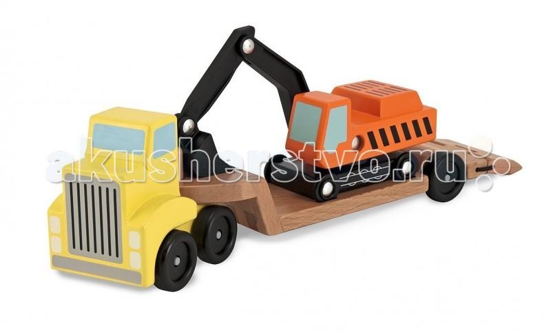 Деревянная игрушка Melissa &amp; Doug Трейлер и экскаваторТрейлер и экскаваторДеревянная игрушка Melissa & Doug Трейлер и экскаватор - станет любимой игрушкой Вашему сынишке!    Когда этот замечательный деревянный экскаватор едет на стройку - он устойчиво стоит на площадке трейлера с жёлтой кабиной. А раз все доехали - значит, время копать, загружать машины.<br>