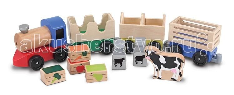 Деревянная игрушка Melissa & Doug Фермерский поездДеревянные игрушки<br>Деревянная игрушка Melissa  Doug Фермерский поезд - создан для того, чтобы перевозить новую корову, бидоны с молоком или ящики с фруктами и овощами на ближайший рынок.  В наборе: локомотив и три прицепляющихся вагона с разными грузами: ящики с урожаем, цистерны, корова.