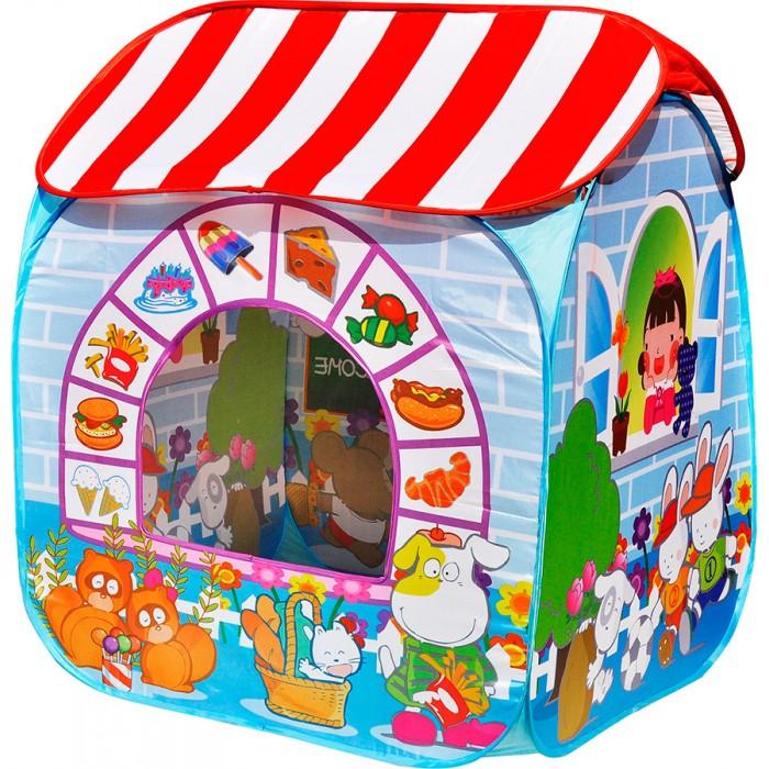Ching Ching Игровая палатка с шарами Сладкий островПалатки-домики<br>Игровой домик-палатка Ching Ching Сладкий остров - компактно складывающийся игровой дом с шарами. Подходит для игр дома, на даче и в детских учреждениях.  Палатка легко устанавливается и собирается.   В комплекте:  каркасные трубки палатка 100 разноцветных пластиковых шариков Размер: 95х95х80 см