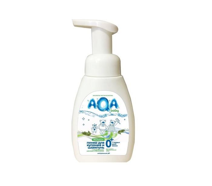 Косметика для новорожденных AQA baby Пенка для купания и шампунь с маслами для сухой и чувствительной кожи 250 мл косметика для мамы neutrogena молочко для тела глубокое увлажнение для сухой и чувствительной кожи 250 мл