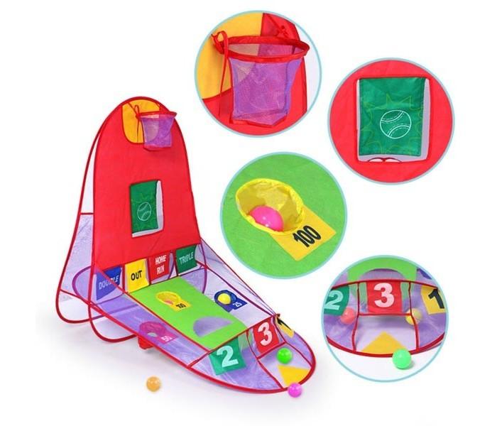 Палатки-домики S+S Toys Игровая палатка 3 в 1 Меткий стрелок каталка на палочке s s toys вертолет желтый от 1 года пластик