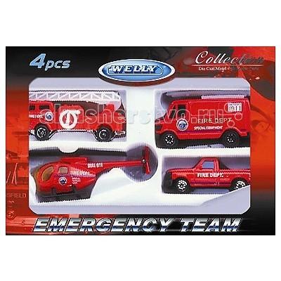Машины Welly Набор Служба спасения - пожарная команда 4 шт. welly welly модель машины газель пожарная охрана