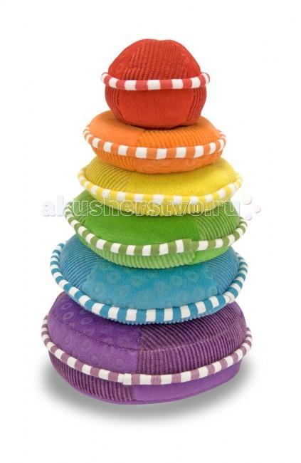 Мягкая игрушка Melissa &amp; Doug пирамидка Радугапирамидка РадугаМягкая игрушка Melissa & Doug пирамидка Радуга - красочная и увлекательная игра.   Красочный набор включает в себя 5 разноцветных элемента разной формы. Дети обожают строить, а построить яркую мягкую пирамидку всегда будет забавным занятием Вашего малыша. Все части пирамидки изготовлены из велюра высокого качества, каждый элемент пирамидки издаёт разные звуки, как погремушки - звон, писк.   Разовьет у Вашего малыша: мелкую моторику, концентрацию внимания, усидчивость, логическое мышление, фантазию, понятие цвета, звука и формы. Предназначена для детишек от девяти месяцев.  Мягкая игрушка компании Melissa & Doug отличается высоким стандартом качества и безопасности детских товаров. Игрушка мастерски выполнена из материалов высочайшего качества.<br>