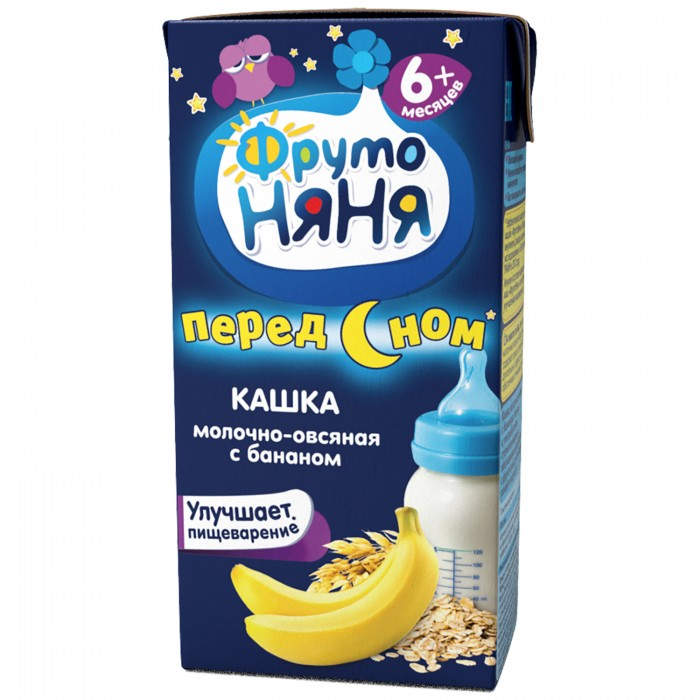 Каши ФрутоНяня Молочно-овсяная каша с бананом жидкая с 6 мес. 200 мл молочно овсяная с бананом с пребиотиками жидкая с 6 мес 200 мл
