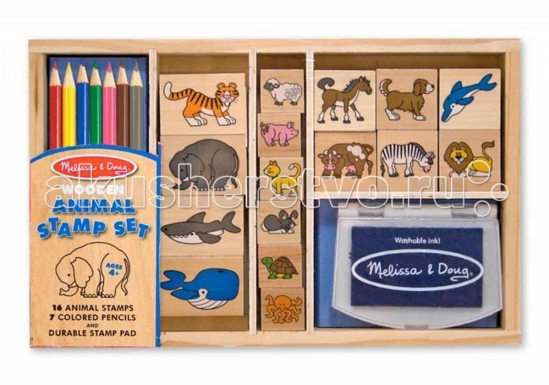 Развитие и школа , Принадлежности для рисования Melissa & Doug Большой набор печатей Животные арт: 49968 -  Принадлежности для рисования