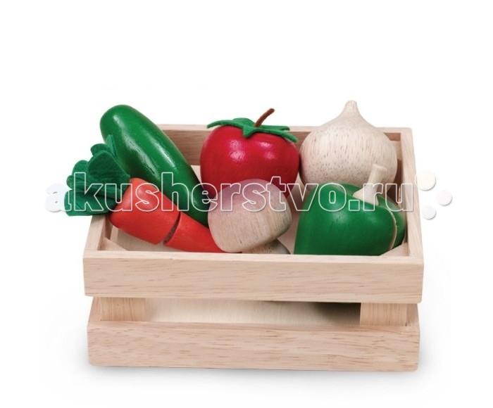 Деревянные игрушки Wonderworld Овощи и грибы для нарезки в ящике