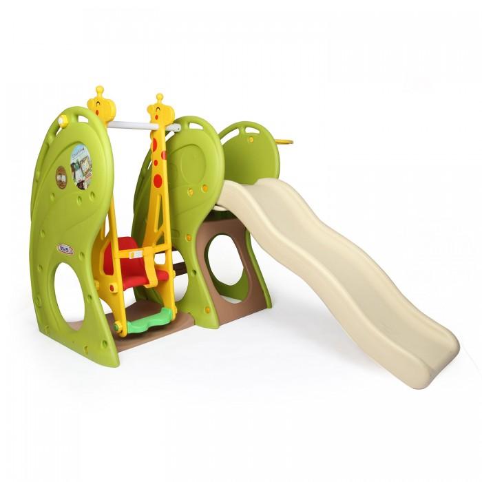 Haenim Toy Игровой комплекс с горкойИгровой комплекс с горкойМногофункциональный комплекс HN-718, предназначенный для подвижных игр детей в возрасте от 1 до 5 лет. Центр имеет сборно-разборную конструкцию, элементы которой изготовлены из высококачественной пластмассы и имеют закругленные края и углы, защищающие от случайных ушибов. В комплекс входит несколько игровых зон, состоящих из волнистой горки с ограничительными бортиками, домика под горкой с широкими проходами, а также качелей с боковыми стойками в виде жирафа. Сиденье качелей оснащено ремнем безопасности, предотвращающим выпадение. Игровой центр может использоваться дома и на улице, легко моется, что позволяет поддерживать необходимую чистоту и отличный внешний вид в течение всего срока эксплуатации.  Характеристики: предназначен для детей от 1 до 5 лет изготовлен из высококачественных безопасных материалов, предназначенных для производства предметов детской группы  устойчивая безопасная конструкция 2 позиции установки горки по высоте качели имеют надежные крепления и удобное сиденье со спинкой и ремнем безопасности имеют закругленные края и углы входит несколько игровых зон, состоящих из волнистой горки с ограничительными бортиками, домика под горкой с широкими проходами, а также качелей с боковыми стойками в виде жирафа комплекс легко собирается, его можно использовать в квартире, во дворе частного дома или дачи, благодаря небольшому весу комплекс также можно брать с собой во время выездов на отдых оригинальный дизайн  Размеры (дхшхв) 120х146х180 Вес: 15.6 кг<br>