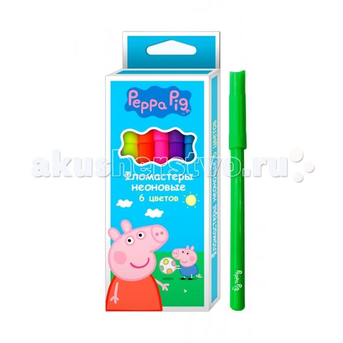 Фломастеры Свинка Пеппа (Peppa Pig) неоновые 6 шт. набор для лепки peppa pig свинка пеппа