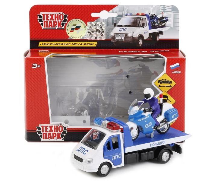 Машины Технопарк Металлическая Газель Эвакуатор 12,5 см и Мотоцикл 7,5 см