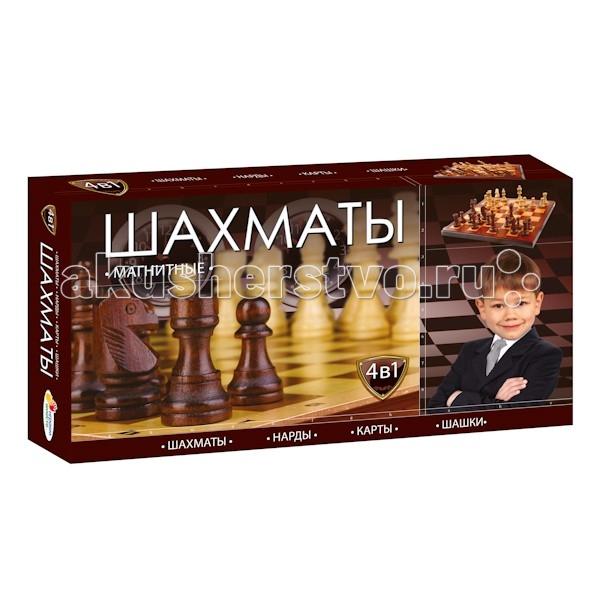 Настольные игры Играем вместе Магнитные шахматы 4 в 1 настольные игры играем вместе игра настольная играем вместе морской бой