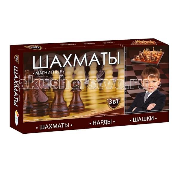Настольные игры Играем вместе Магнитные шахматы 3 в 1 G049-H37005R настольные игры экспедиция шахматы дорожные