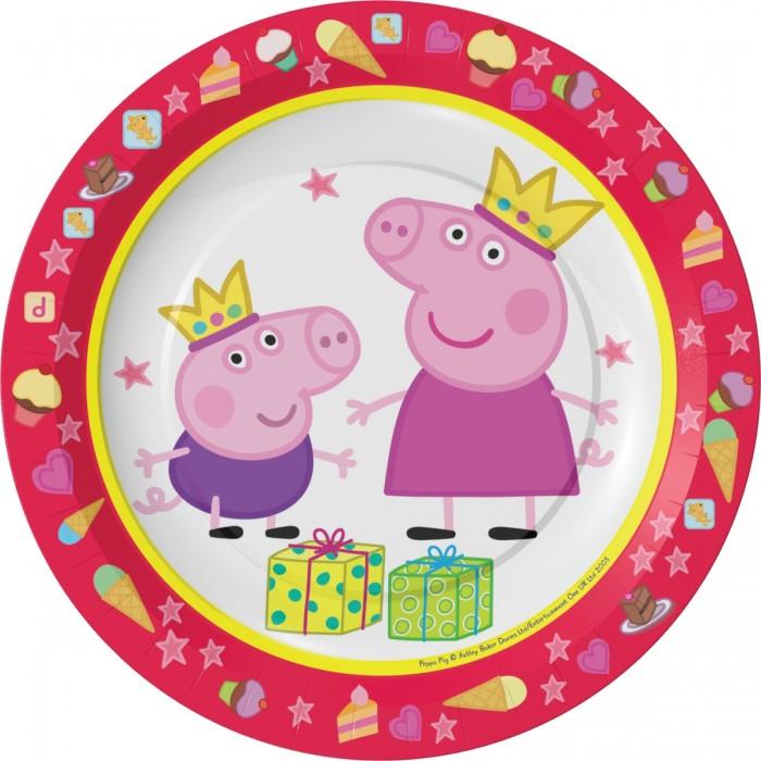 Товары для праздника Свинка Пеппа (Peppa Pig) Набор тарелок Пеппа-принцесса 6 шт. цветные карандаши толстые свинка пеппа 6 цветов peppa pig