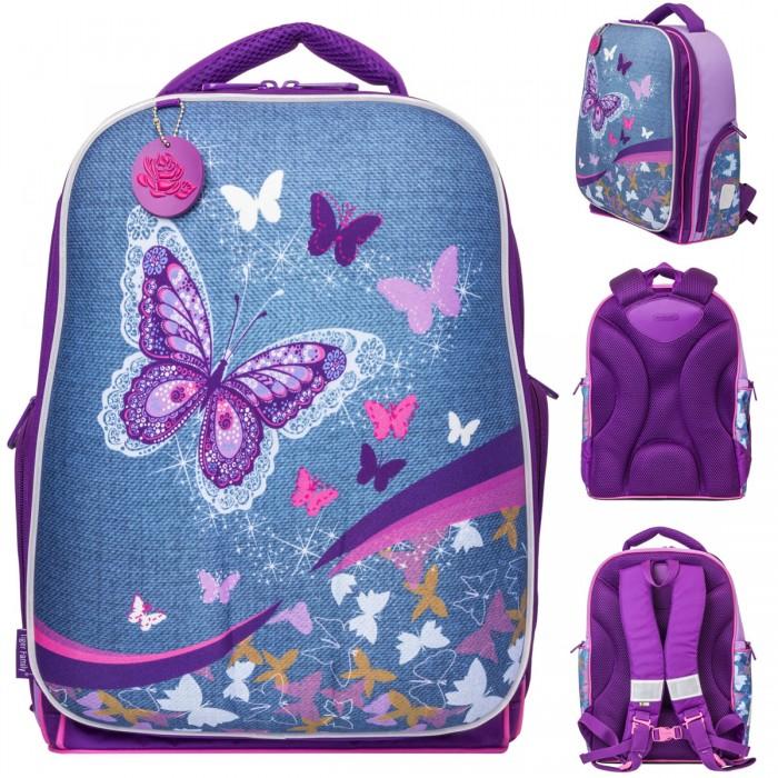 Купить Школьные рюкзаки, Tiger Enterprise Рюкзак для девочки Expert collection Denim Butterfly жесткий каркас 41х31х23 см