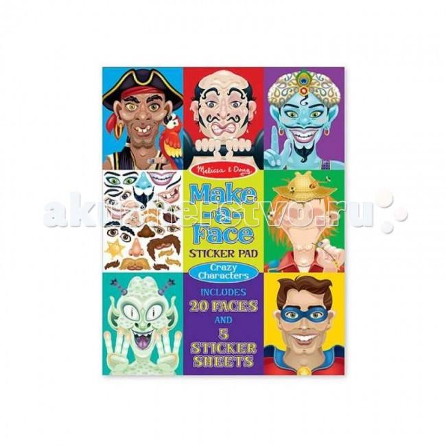 Детские наклейки Melissa & Doug Набор стикеров Лица - Безумные герои
