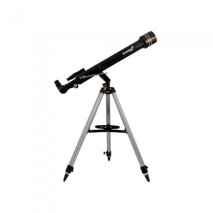 Levenhuk Телескоп Skyline 60x700 AZТелескоп Skyline 60x700 AZLevenhuk Телескоп Skyline 60x700 AZ создан для начинающих любителей астрономии. Благодаря простому управлению эта модель не вызовет трудностей у новичков.   Особенности: Просветленная оптика формирует изображение высокого качества. С помощью этого телескопа можно увидеть детали лунного рельефа, планеты Солнечной системы и множество других космических объектов  Данная модель представляет собой линзовый телескоп Оптические поверхности покрыты просветляющим составом, поэтому картинка получается чистой и контрастной Оптический искатель 5x24 позволяет быстро навестить на интересующий вас объект В комплект входят окуляры 20 мм и 4 мм, дающие увеличение 35 и 175 крат С помощью линзы Барлоу можно увеличить кратность каждого окуляра в 3 раза  Азимутальная монтировка позволяет перемещать оптическую трубу по высоте и азимуту Алюминиевая тренога снабжена лотком для дополнительных аксессуаров. Высота ножек треноги регулируется.  В комплекте: Телескоп Levenhuk Skyline 60х700 AZ Окуляр 20 мм (35x) Окуляр 4 мм (175x) Диагональное зеркало Линза Барлоу 3x Оптический искатель 5x24 Салфетка для оптики Азимутальная монтировка Алюминиевая тренога с лотком для аксессуаров Инструкция по эксплуатации и гарантийный талон.<br>