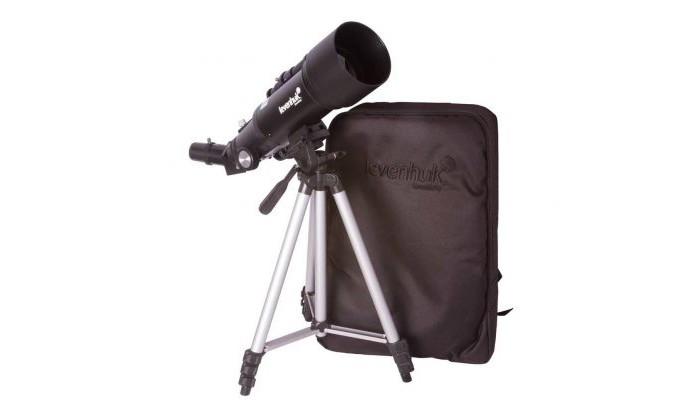 Levenhuk Телескоп Skyline Travel 70Телескоп Skyline Travel 70Levenhuk Телескоп Skyline Travel 70 – рефрактор на азимутальной монтировке, который отлично подойдет для астрономических и наземных наблюдений. В него вы изучите лунные кратеры и полярные шапки на Марсе, рассмотрите кольца Сатурна и диск Венеры, понаблюдаете за яркими звездами и туманностями. При необходимости вы сможете использовать телескоп в качестве зрительной трубы – он покажет вам все детали удаленных объектов.  Особенности: В комплект включены все необходимые аксессуары: окуляры, оптический искатель, линза Барлоу и диагональное зеркало Увеличение из коробки составляет 120 крат Есть и удобный рюкзак, с помощью которого вы легко довезете телескоп до любой точки наблюдений Телескопом легко управлять при помощи азимутальной монтировки. Ее можно перемещать или по высоте, или по азимуту Направить оптическую трубу на объект сможет даже ребенок. Она почти в два раза короче, чем у большинства других рефракторов Вес конструкции максимально снижен, при этом сохранены все оптические возможности Для наблюдений используется классическая алюминиевая тренога Высоту ее ножек можно регулировать, адаптируя телескоп под рост пользователя Телескоп для детей и начинающих Укороченная и легкая оптическая труба Подходит для изучения планет, Луны и наземных объектов. В комплекте: Телескоп Монтировка Оптический искатель 5х24 Окуляр K10 мм, 1,25 Окуляр K20 мм, 1,25 Диагональное зеркало Линза Барлоу 3х Тренога Рюкзак для переноски Инструкция по эксплуатации Гарантийный талон.<br>