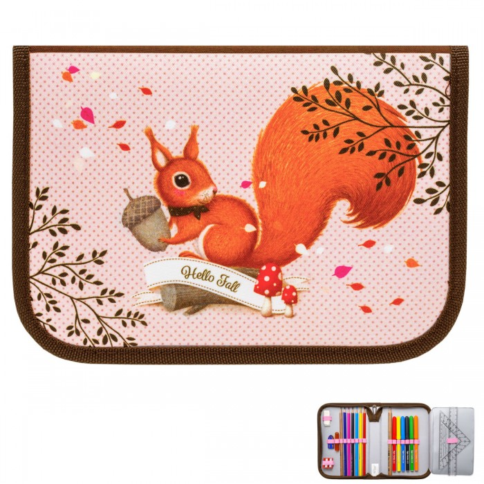 Tiger Enterprise Пенал для девочки Nature Quest collection Woodland magic Squirrell с наполнением