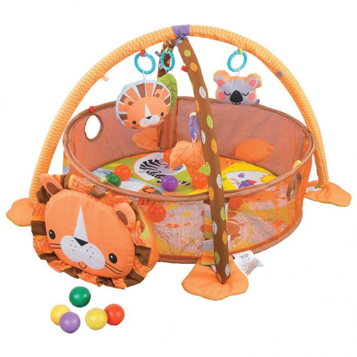 Развивающий коврик Konig Kids Бонифаций 3 в 1Развивающие коврики<br>Развивающий коврик Konig Kids Бонифаций 3 в 1 - функциональный развивающий коврик с аксессуарами, который можно использовать с рождения.  Можно использовать как коврик с подвесными игрушками, как коврик с игрушками и сетчатой оградой и в качестве сумки для хранения игрушек и шариков.  В комплекте: Развивающие игрушки: 4 шт, Удобная сумочка для хранения Сетчатая ограда с отверстиями для шариков Цветные шарики: 30 шт. Размер коврика: 92х68х52 см