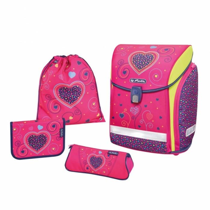 Купить Школьные рюкзаки, Herlitz Ранец Midi Plus Pink Hearts с наполнением
