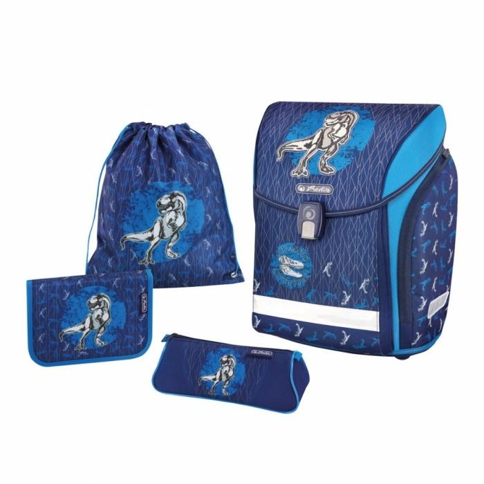 Купить Школьные рюкзаки, Herlitz Ранец Midi Plus Blue Dino с наполнением