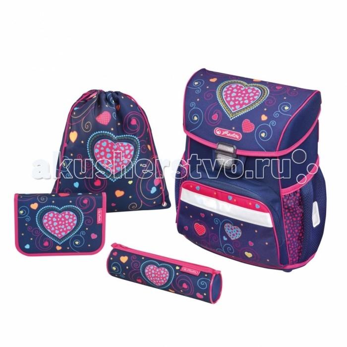 Школьные рюкзаки Herlitz Ранец Loop Plus Blue Hearts с наполнением