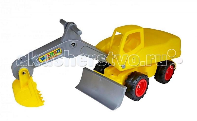 Каталка Wader Мега-экскаватор с управляемым ковшомМега-экскаватор с управляемым ковшомWader Мега-экскаватор с управляемым ковшом для игры в песке. Ребенок может сесть на удобное сиденье и с помощью ручек управлять ковшом - это очень легко и просто, но главное - интересно. Мега-экскаватор на колесах специально предназначен для земляных работ, поэтому каждому мальчишке захочется посидеть и поработать на нем, выкапывая песок в песочнице.   На детской площадке экскаватор будет пользоваться популярностью, потому что там много нужно сделать с помощью него. Да и дома для него обязательно найдется работа.  Игрушки Wader отличаются высоким качеством, дизайном и функциональностью. Яркий и красивый дизайн понравится Вашему малышу! Играть с экскаватором понравится любому малышу и доставит удовольствие как мальчику, так и девочке. Кто сказал, что девочки не могут управлять экскаваторами ? Им также как и мальчишкам будет очень интересно управлять этой машиной. Эта машина способна решать большие воспитательные задачи, развивает много хороших качеств: помощь друзьям и взрослым, ответственность, заботу, доброту и внимание. Оцените это и учите детей играть!   Особенности: У экскаватора подвижный ковш, поворачивающийся корпус и массивные прорезиненные бесшумные колеса, которым не помеха ни лужи, ни грязь.  Ковш - с ручным управлением для рытья котлованов и ям, а также имеется грейдер для выравнивания песочных дорог. Мега-экскаватор выполнен из ударопрочной пластмассы.  Детский экскаватор дает возможность применить ребенку свою фантазию, помогает разыгрывать различные ситуации.  Это идеальная игрушка для игр на открытом воздухе и отлично подойдет для игры на даче, во дворе, на загородных участках, на площадках, в песочницах. Детская машина Wader - это пластмассовая игрушка, изготовленная из высококачественного сырья.  В производстве этих машин используются безопасные материалы. Пластик не деформируется и не выгорает под солнцем.  Рекомендуется для детей от 2 лет.<br>