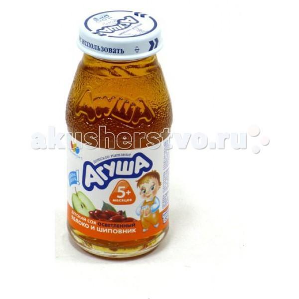 Соки и напитки Агуша Сок осветлённый без сахара Яблоко и шиповник 150 мл соки и напитки агуша компот курага изюм яблоко 200 мл