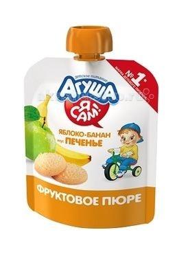 Пюре Агуша Фруктовое пюре Я сам! Яблоко-банан-печенье 90 г йогурт питьевой агуша я сам малина 2 7% с 8 мес 200 мл