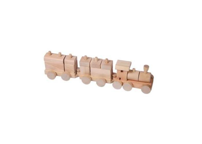 Деревянная игрушка Paremo конструктор-паровозик неокрашенный в пакете