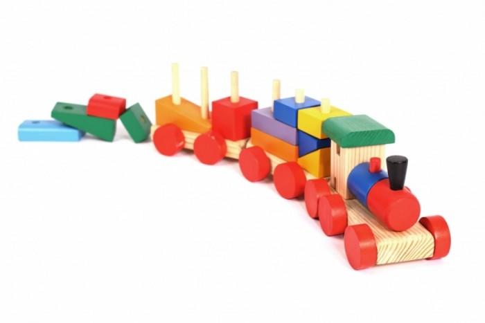 Купить Деревянные игрушки, Деревянная игрушка Paremo конструктор-паровозик окрашенный в пакете