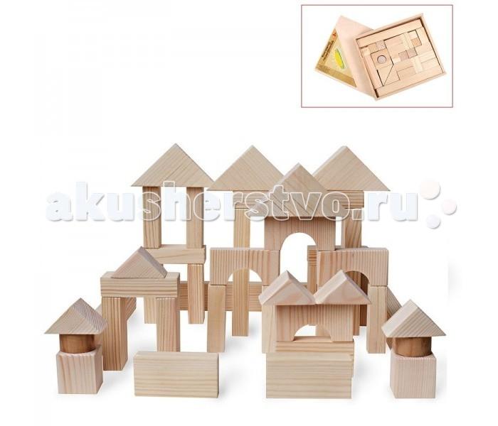 Деревянная игрушка Paremo конструктор 51 деталь неокрашенный в деревянном ящике