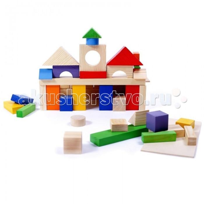 Купить Деревянные игрушки, Деревянная игрушка Paremo конструктор 51 деталь окрашенный в деревянном ящике PE117-9