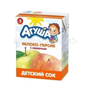Соки и напитки Агуша Сок детский с мякотью без сахара Яблоко-персик 200 мл агуша сок агуша 200 мл тетрапак яблоко с мякотью с 4 мес