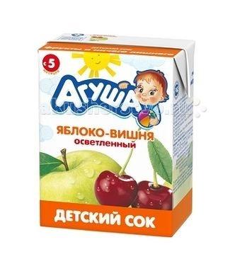 Соки и напитки Агуша Сок детский осветленный без сахара Яблоко-вишня 200 мл яблоко осветленный с 3 лет 500 мл