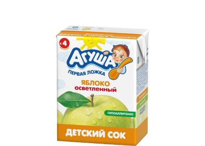 Соки и напитки Агуша Сок детский осветленный без сахара Яблоко 200 мл соки и напитки агуша вода и сок садовые ягоды с 12 мес 300 мл