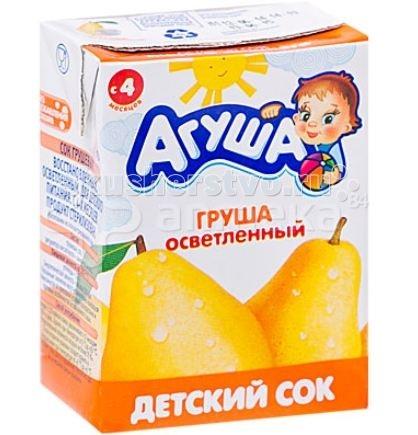 Соки и напитки Агуша Сок детский осветленный без сахара Груша 200 мл сок агуша груша с 4 мес 200 мл
