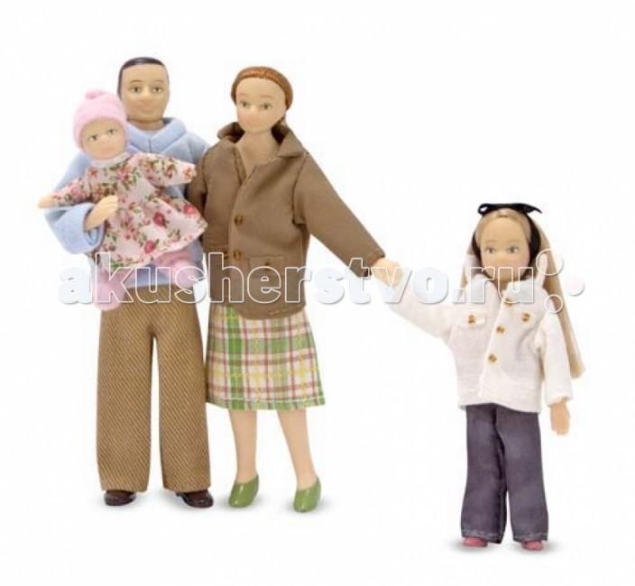 Melissa &amp; Doug Куклы Семья (для викторианского дома)Куклы Семья (для викторианского дома)Melissa & Doug Куклы Семья (для викторианского дома) - настоящая кукольная семья, состоящая из мамы, папы и двух прекрасных дочек.   Куклы виниловые, ножки и ручки у них сгибаются!   Куклы идеально подойдут для любого кукольного дома масштаба 1:12.  Высота взрослых кукол около 14.5 см.<br>