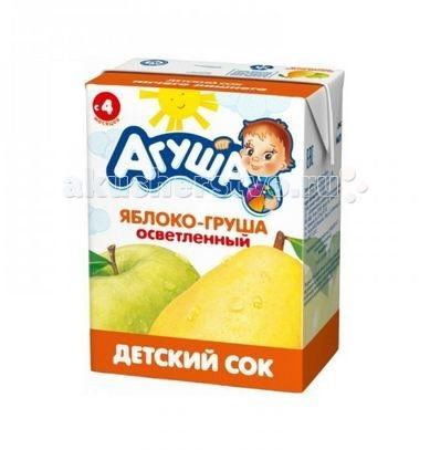 Соки и напитки Агуша Сок детский осветленный без сахара Яблоко-Груша 200 мл добрый сок яблоко груша 0 2 л